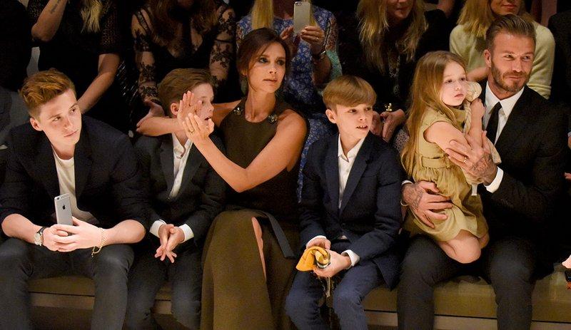 Victoria and David Beckham with kids