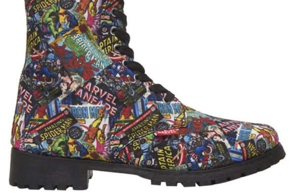 Marvel Comics Printed Combat Boots