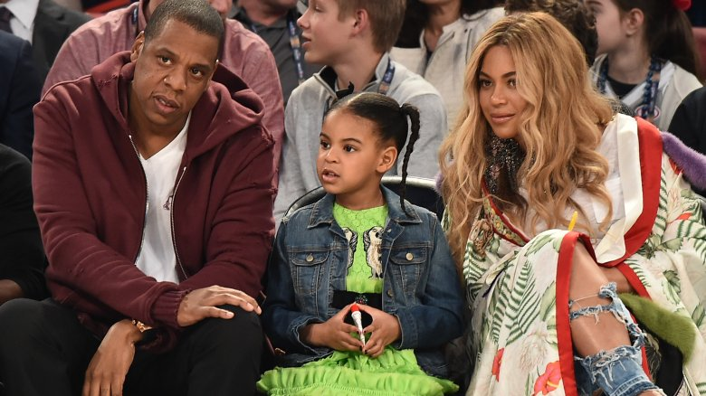 Blue Ivy with Jay Z and Beyonce